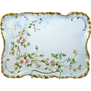 Antique Haviland Limoges Dresser Vanity Tray Hand Painted Old Fashioned Roses 1888-1896
