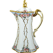 Antique Noritake Nippon Chocolate Pot Hand Painted Old Fashioned Pink Roses Raised Gold Vines with Thorns