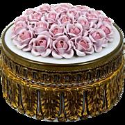 Gilt Ormolu Porcelain Powder Jar Trinket Box Wrapped Design Sculpted Rose Lid