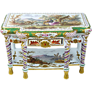 Antique French Faience Miniature or Doll Console Table Veuve Perrin Hand Painted