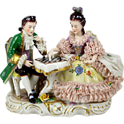 Dresden Figurine Couple Playing Chess Porcelain Lace Martha Budich 1950-1963