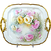 Antique Hand Painted Limoges Tray or Plate w/ Handles Pink Roses Artist Signed Sister M. Rose Cecilia