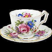 Aynsley Bone China Tea Cup Pink Blue Purple Flowers Footed Design 6 Oz