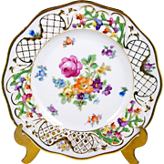 Schumann Dessert Plate Chateau Reticulated Border Dresden Flowers 7 1/2""