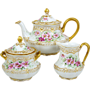 Haviland Teapot Set Hand Painted Signed Old Fashioned Roses 3 Pieces 1894-1931