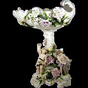 """Antique Figural Centerpiece 19"""" Porcelain Pedestal Bowl Applied Flowers 3 Angels"""