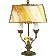 French Style Lamp Adjustable Slag Glass Shade Porcelain Flowers Boudoir or Accent