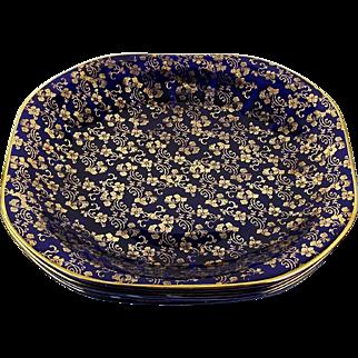 "Limoges-American Dinner Plates Set of 5 Gold Flowers Cobalt Blue 9 1/2"" Square"