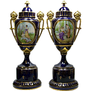 """Pair Antique Portrait Urns 22"""" Porcelain Figural Handles Ernst Wahliss Austria"""