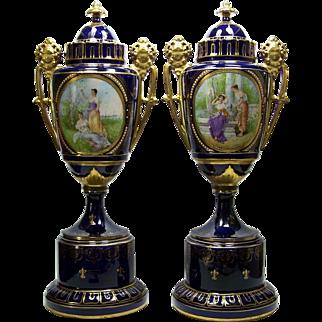"""Pair Antique 22"""" Porcelain Urns Figural Handles Portraits Ernst Wahliss Austria"""