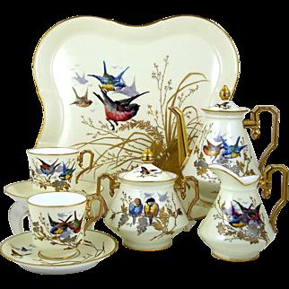 Antique Tea Set Hand Painted Limoges Quality Teapot Cream Sugar 2 Tea Cups Tray