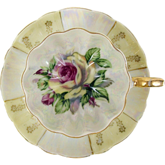 Rose Interior Tea Cup Pink & Yellow Floral Tripod Footed Yellow & Pearl Luster
