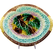 Antique Majolica Tray Eat Thy Bread with Thankfulness Embossed on Rim Begonia