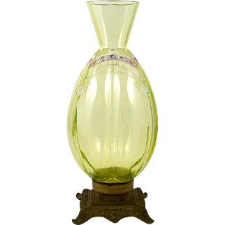 Antique Vaseline Art Glass Vase Uranium Green Glow Bronze Mount Enameled Design