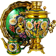 Brass Russian Samovar Urn w/ Teapot & Tray Decorative Floral on Green Cord & Adapter Included