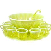 Vaseline Opal Glass Punch Bowl Set 8 Cups Ladle & Tray Grape Pattern by Mosser