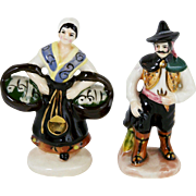 "Miniature Hand Painted Figurine Couple Pair 3 1/4"" NAPCO Fine Porcelain People"