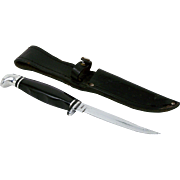 "Case XX 2 Finn Hunter Fixed Blade Knife 8 1/2"" with Leather Sheath 4 1/4"" Blade pre 1970"