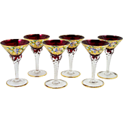 Set of 6 Bohemian Czech Cordial Glasses Ruby Red Enameled Flowers Clear Stems