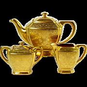 Schonwald Gold Teapot Tea Set Gold Floral Decoration Footed Design 3 Piece Set