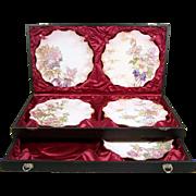 "Antique Doulton Burslem Plate Set 8 3/4"" Salesman Sample in Display Case 1887"
