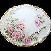 Limoges Dresser Tray Hand Painted Pink Roses Artist Signed GDA France 1937+