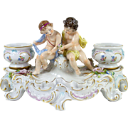 Figural Porcelain Double Inkwell Figurine Rococo Style Putti & Urns Sitzendorf