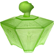 "Ramses Powder Jar Art Deco Green Satin Glass Vanity Box Lady Head Finial 5"" x 5"""