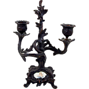 """Bronze Double Candle Holder Porcelain Insert Angel Cherub 9"""" High Footed Base"""