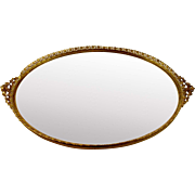 Oval Mirrored Tray for Vanity or Dresser Gold Tone Filigree Open work Leaf Trim 16 x 10