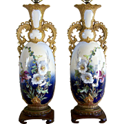 """31 1/2"""" Table Lamp Pair Hand Painted Flowers Ornate Gold Handles & Trim"""