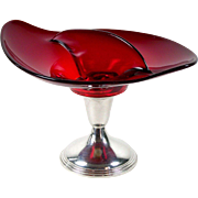 Ruby Art Glass Divided Bonbon Candy Dish Sterling Pedestal Bailey Banks & Biddle