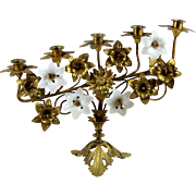 """Antique French Brass Candelabra w/ Glass Flowers 5 Arm Candle Holder 17"""" x 13"""""""