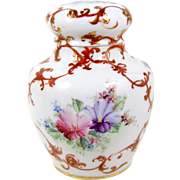 "Hand Painted 6"" Ginger Jar Pink & Purple Flowers Rust & Gold Decoration Gold Trim"