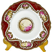 """Antique Noritake Cabinet Plate 7 1/2"""" Hand Painted Roses Gold Bead Moriage 1906"""