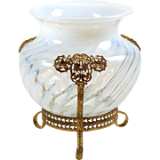 "Opalescent Art Glass Vase Footed Ormolu Mount White Swirl Pattern 6"" High Pierced Brass"