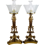 Brass Table Lamp Pair Hooved Hoof Base Griffin Design Frosted Glass Shades
