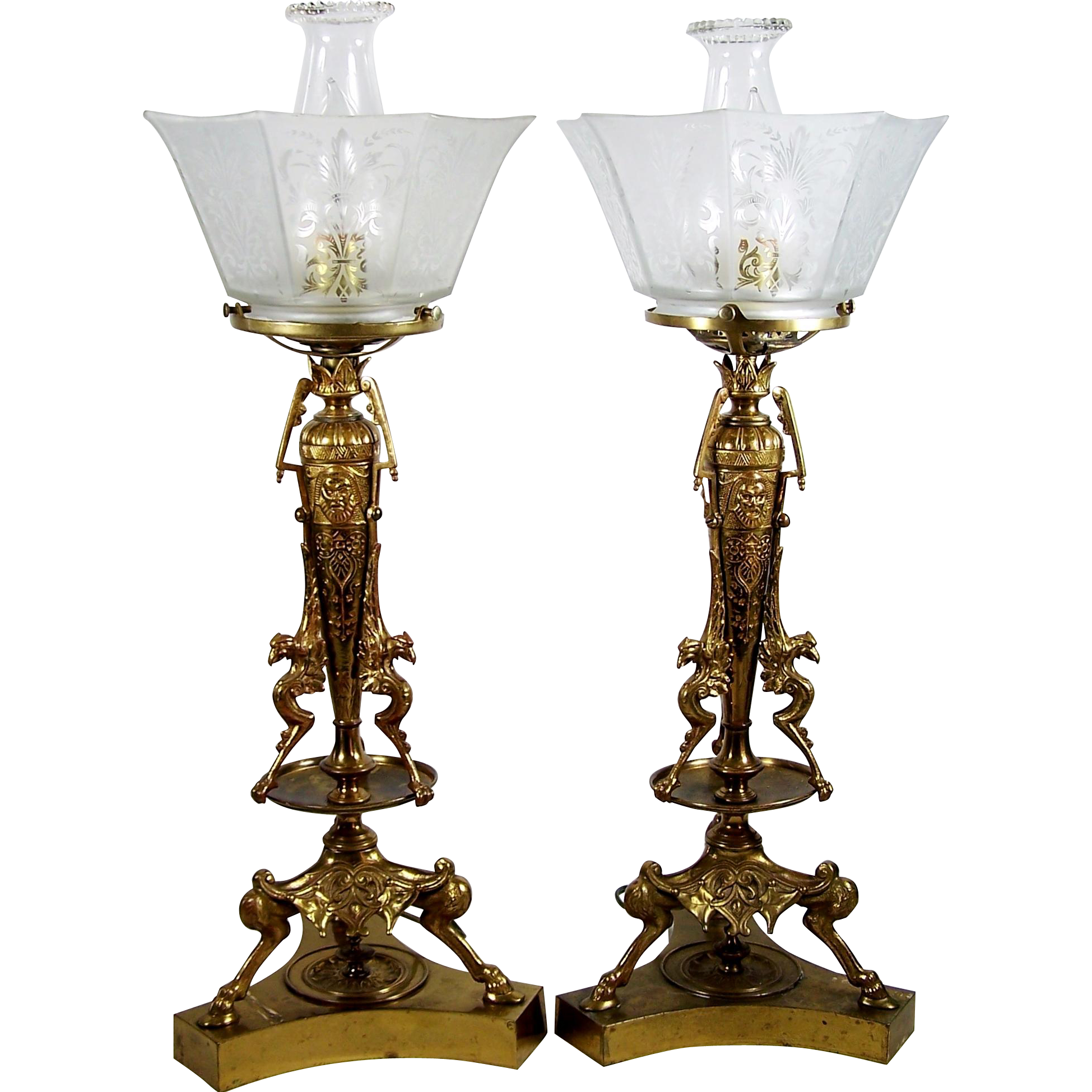Table Lamp Pair Hooved Griffin Hoof Base Design Frosted Glass Shades