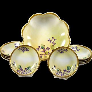 Haviland Limoges Berry Bowl Set 11 Piece Hand Painted Violet Flowers Gold Trim Vintage