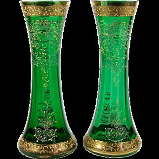 Enameled Art Glass Vase Pair Decorated Gold Trim Green Paneled Glass
