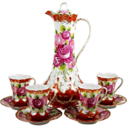 Antique Chocolate Pot Set Hand Painted w/ 4 Chocolate Cups & Saucers Pink Roses