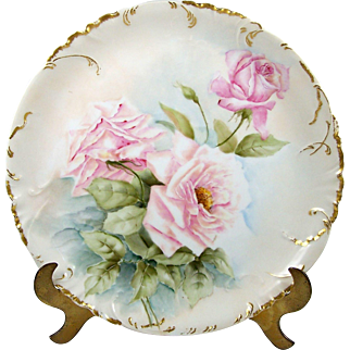 Antique Hand Painted Haviland & Co Limoges Charger Plate Pink Roses Scalloped