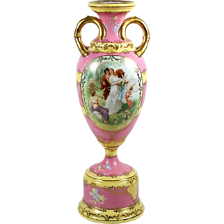 """Vintage Porcelain Urn Vase Sevres Style Figural Cartouche Pink and Yellow 12"""""""