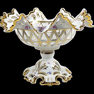 Antique KPM Bowl Footed Pedestal Tazza Floral Krister Porcelain Center Bowl