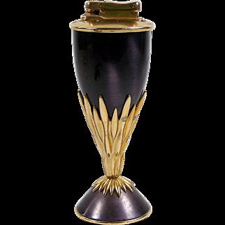"Colibri France Table Lighter Monogas ""21"" Purple w/ Gilt Brass Accents"