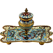 Antique Champleve Inkwell French Enamel Tray w/ Pedestal Well & Glass Insert