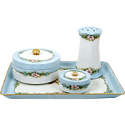 Antique Limoges Dresser Set Hand Painted Assembled Vanity Tray Powder Jars Hat Pin Holder