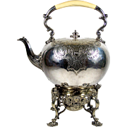 Antique Silver Plate Teapot Hinged Tilt Stand Repousse Floral Decoration 1854-97