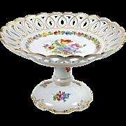 Antique Von Schierholz Pedestal Plate Hand Painted Dresden Flowers Reticulated