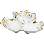 Limoges Divided Dish 3 part w/ Center Handle Hand Painted Gold B & H